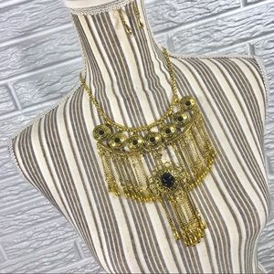 Gold Boho Statement Necklace & Earrings Set